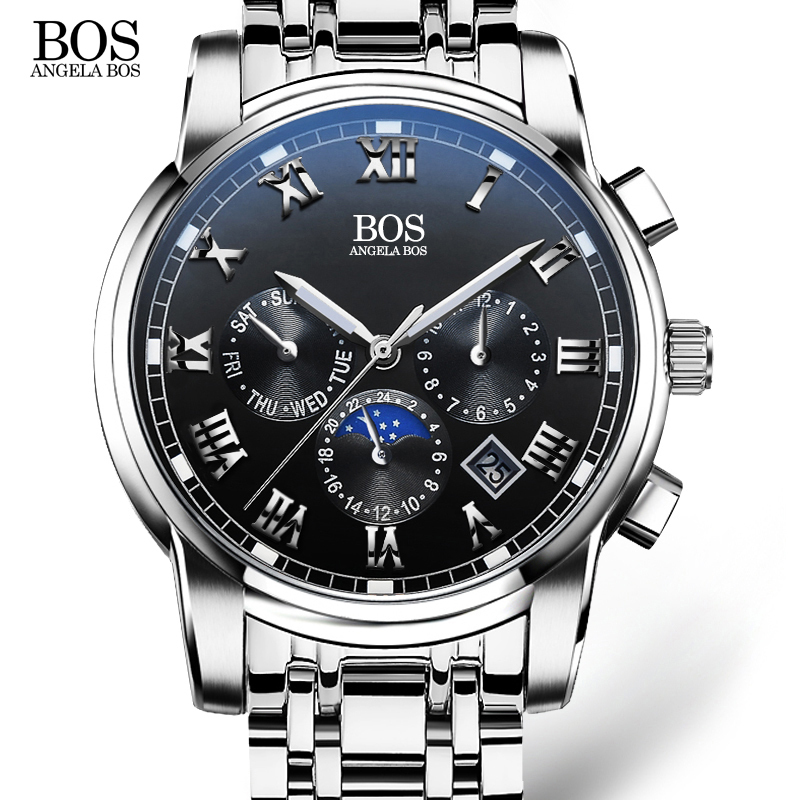 Top brand ANGELA BOS fashion Stainless Steel Quartz Watch Men Date Week Month Waterproof Bright Mens Watches relogio masculino<br><br>Aliexpress