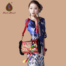 HOT SALES Naxi.Hani original double sided embroidery pillow Raccoon hair bags Ethnic Handmade brocade beaded shoulder bags(China)