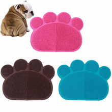 2016 Home Pet Feeding Mat Pad Cute Paw PVC Bed Dish Bowl Food Water Feed Placemat Wipe Clean Pet Dog Puppy Cat Supplies QB674516(China)