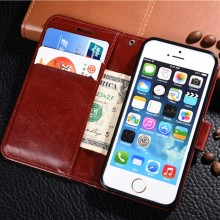 for Apple iphone 5 5s SE 6 6S 7 Plus 6Plus 7Plus Crazy Horse Leather Book Flip Design Wallet Case Soft Cover