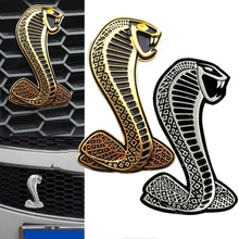 Auto Car Sticker 3D Cobra Metal Sticker Car Grille Turning Logo Cobra Emblem With Screws for Ford Shelby Mustang CSL2017(China)