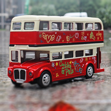MZ 1:28 luxury Double layer Bus Die-cast metal Alloy car model Children's toys ornaments Sound and light