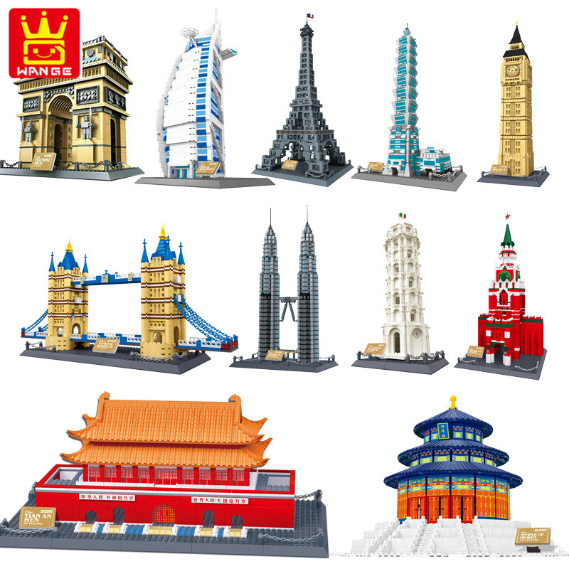 Wange 8011-21 Great architectures 11 models London Bridge Big Ben Tiananmen Building Block Sets Educational DIY Bricks Toys<br>