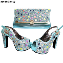 Latest Shoes and Bag Set African Sets 2017 Sky Blue African Shoe and Bag Set for Party In Women Nigerian Party Shoes and Bag Set
