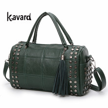 spanish kavard Rivet Boston bag luxury handbag women bag designer bag handbag women famous brand bolsos mujer women hand bag sac(China)