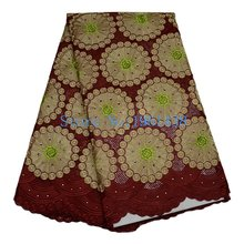 Special offer 2017 latest African Mesh Cotton embroidery Nigerian Rhinestones Swiss Voile Jujube red lace fabric wedding cloth