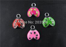 AE233 100Pcs Mixed Enamel ladybug Charms Pendants floating charm Bracelet Charms 18x14mm bead(China)