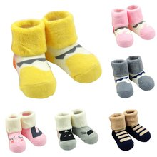 Newborn Baby Socks Warm Cartoon Non-slip Cotton Ankle Socks Autumn Winter Thicken Socks for  0-12 Months baby