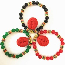 Trendy black red green semi-precious chalcedony stone round bracelet cinnabar fish pendant beads gold-color jewels 7.5inch B1410