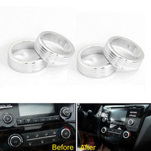 Car Inner AC Air Condition Knob Cover Trim & CD Speaker Audio Ring Styling Aluminum Alloy Fit For 2016 Nissan Qashqai