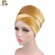 2017 New fashion women STAR diamante Velvet Turban Long Head Wraps women luxury Hijab HeadScarf head scarf turbante(China)