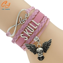 Waxed Cord  Bracelets Punk Style Swing Skull Bracelets Wording SKULL 5 Colors For You To Pick Drop Shipping PayPal Payment