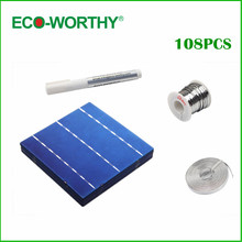 108pcs 6x6 Polycrystalline Photovoltaic Solar Cells Kits 156 Solar Cells+Bus Wire+Tabbing Wire +Flux Pen DIY Solar Panel