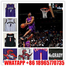 Wholesale Price Hot Sale!!! New 1 Tracy Mcgrady Toronto Jersey, 100% Stitched Tracy Mcgrady Throwback Jersey, White Purple Black