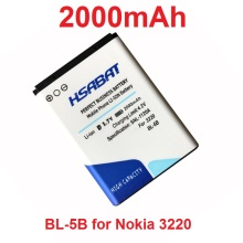HSABAT 2000mAh BL-5B Battery for Nokia 3230 5070 5140 5200 5300 5500 6020 6021 6060 6070 6080 6120 6120C 7260 7360 7620 N80 N90(China)