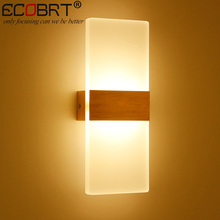 ECOBRT Modern 6W LED Wall Lights Bathroom Lighting High Quality Aluminum Base Acrylic Square Wall Lamps in Bedroom Living Room