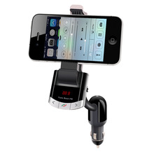 Car Charger with FM Transmitter LCD Display Mobile Phone Holder Style Bluetooth Handsfree Car Kit Support U Disk and USB Charger
