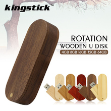 Rotation wooden USB 2.0 flash drive 4G 8GB 16GB 32GB 64GB new creative gift Rectangle wood pen drive u disk pendrive freeship(China)