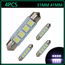 4pcs 2016 New 12V C5W Led Festoon Bulb 31MM 41MM 42MM 42 mm 4SMD 5050 Lights Xenon White for festoon Dome Led Light Lamp Bulbs