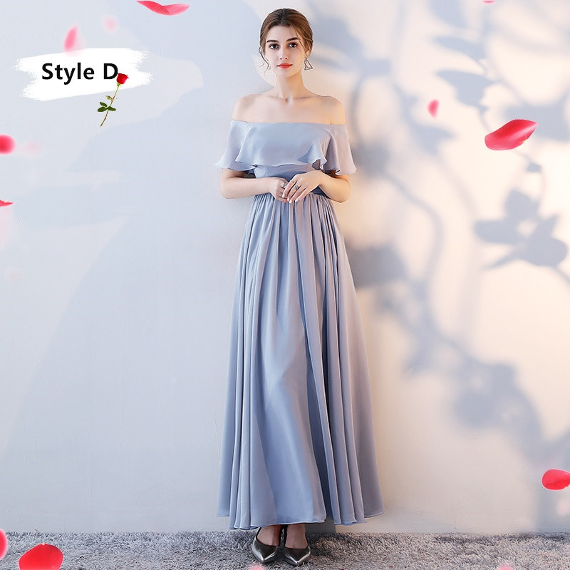 SOCCI Weekend Long Bridesmaid Dresses 2017 Sliver Sleeveless Sister Dress Grey Off shoulder Formal Wedding Party Gowns Robe de 14