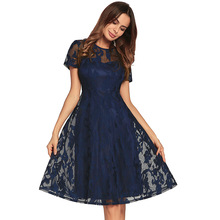 Buy Black Lace Dress Office Lady Mesh A-line Dresses Elegant OL Women Clothes Hollow Sweet Princess Slim Summer Dress Fashion for $29.00 in AliExpress store