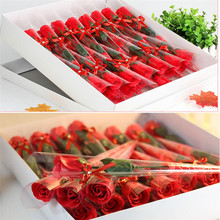30pcs gift simulation roses soap flower wholesale Valentines Day gift with a diamond single soap flower