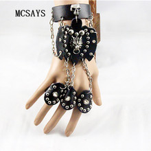 MCSAYS Rock Punk Jewelry Dragon Head Skull Head Rivet Leather Bracelet Link Rings Hipster Gothic Bangle Fashion Accessories 4HD(China)
