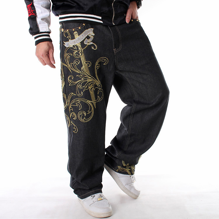 2019 Embroidery Jeans Men HIPHOP Street Dance Casual Loose Plus Fat XL Skateboard Pants ripped jeans for men denim boker parfum