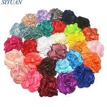 20pcs/lot 8cm Large Layered Burned Satin Rose Flowers Hairpin DIY Boutique Hair Accessories for Women and Girl TH68(China)