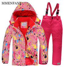 For -30 Degree Warm Coat Sporty Ski Suit Waterproof Windproof Girls Jackets Kids Clothes Sets Children Outerwear suit for 3-16Y(China)