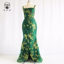 Simple Design Green Square Neckline Bling Bling Lace Thigh Floor Length Mermaid Prom Dresses(China)