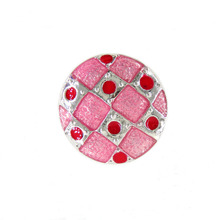 Fashion Snaps Pink Enamel Square Grid Shape Snap Ginger charms fit 18mm snap button jewelry SB2364