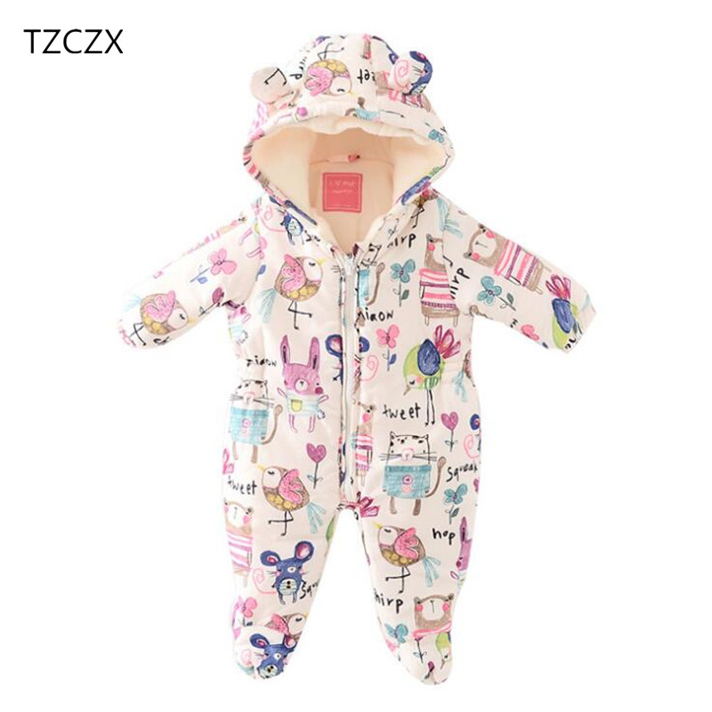 TZCZX 1pcs Children Baby Boys Girls Rompers Novelty Cartoon Printed Hooded Thicker Cotton Jumpsuit For 3 to 18 Month Kids Wear<br>