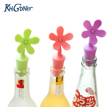 4pcs/Set Silicone Wine Stopper Candy Flower Shape Beer Champagne Flavouring Bottle Cover Stopper Kitchen Bar Accessories(China)