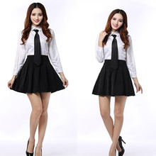 Blended Cotton uniforms turn down collar long sleeve white blouse shirt student shirts blouses High school uniform C30