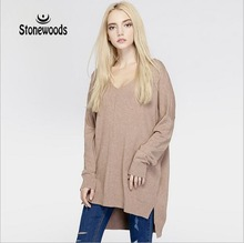Sweater Women Sweaters And Pullovers European British Style Relaxed Fit V-Neck Winter Shrugs For Womens Knitted Sweater Wildfox(China)