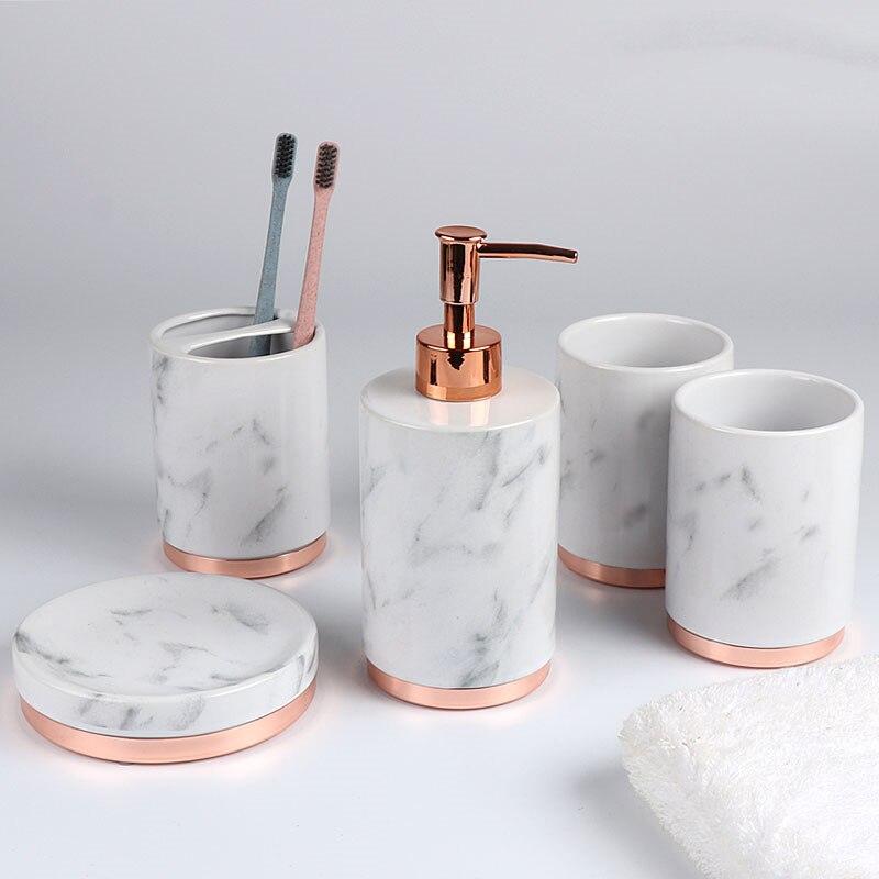 Свадебные украшения набор для ванной комнаты из пяти частей Мраморная