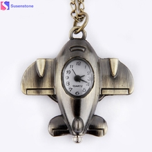 Antique Bronze Small Aircraft Design Stylish and unique design Anniversary Pendant Pocket Watch Necklace Gift #45(China)
