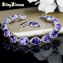 BlingZircons Top Quality CZ Natural Stone Beads Hand Jewelry Pear Cut Purple Austrian Crystal Connected Bracelets For Women B034(China)