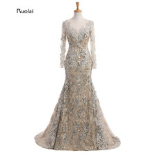 Custom Made Lace Applique Mermaid Evening Dresses Scoop Sheer Long Sleeves Gold Arab Dress Formal Evening Party robe de soiree(China)