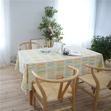 CITYINCITY Rainbow Style White Tablecloth Cotton Printed Rectangular For Home Party Wedding Decoration Customized