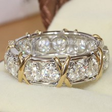 Fashion Jewelry Women Engagement Jewelry Gem 5A Zircon stone 10KT White Yellow Gold Filled Wedding Band Ring Sz 5-11