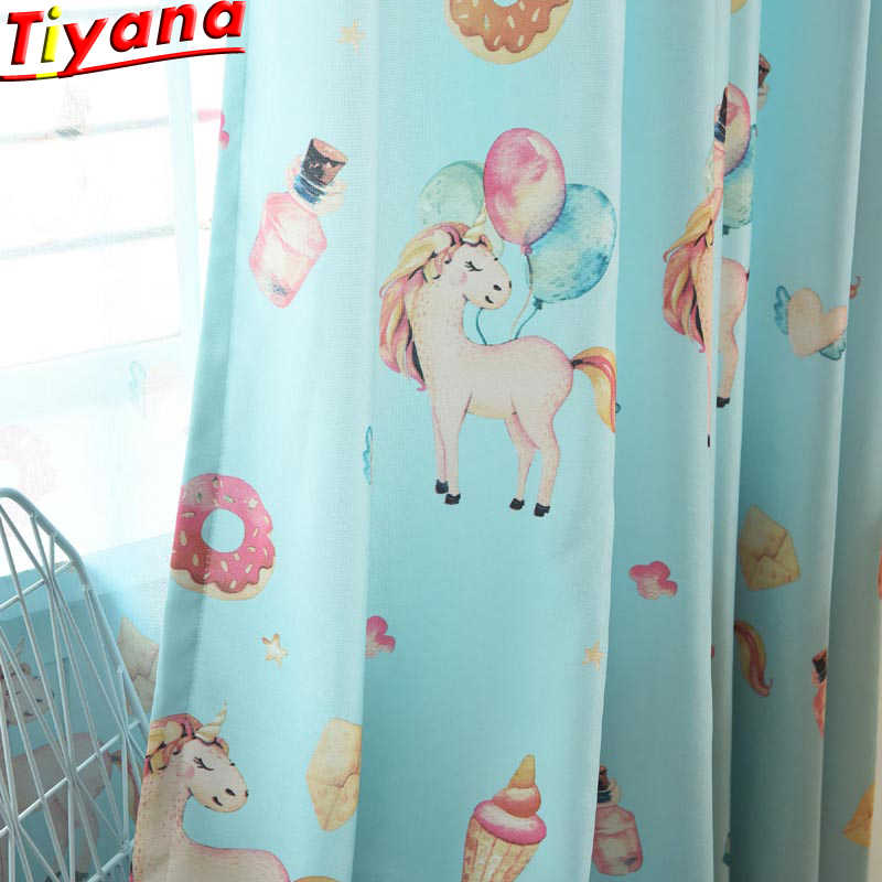 Pink Eco-friendly Fabric Cartoon Curtain for Kids Room Living Room Curtains for Children Princess Bedroom Horse PrintedWP114 *30