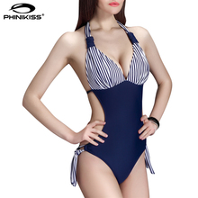 Royal Blue One Piece Swimsuit Women Striped Push Up Bodysuit Monokini Female Scrunch Butt Halter Bathing Suit Maillot De Bain