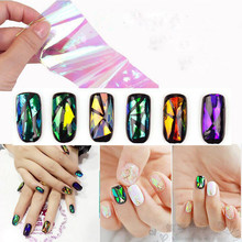 6 Different Colors/set 3D Broken Glass Pieces Mirror Foil Tips Stencil Decal Nail Art Sticker Tools For Fringe Decoration AP293(China)