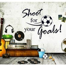 Shoot For Your Goal Letter Football Sport Wall Decals Wallpaper Kids Wall Stickers Children Room Decor Size45*60CM