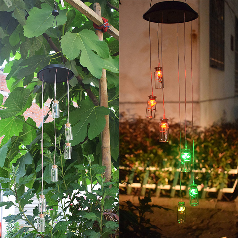 Solar Color-Changing Wind Chime Light LED Garden Hanging Spinner Lamp Color Changing Wind Chime Light Luces 40JUN255