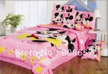 pink mickey and minnie mouse girls bedding twin full queen king size comforter cotton quilt duvet covers bed in a bag sheets set