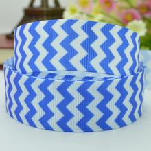 "independence day Festival blue stripe ribbed bow handmade 22mm print grosgrain ribbon 7/8"" girl accessories just do it(China)"