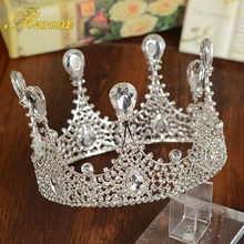 Mansati Queen Crown Full Round Crown Bridal Silver Crown Tiara Para Cabelo Diademas Pelo Vintage KOPOHA Hair Accessories HG118